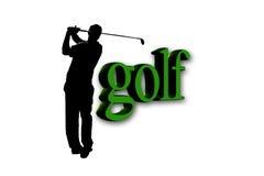 Golfspeler - golftekst Stock Foto