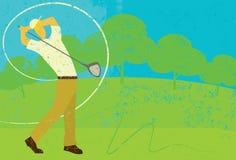 Golfspeler het slingeren vector illustratie