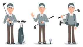Golfspeler, knappe golfspeler Het karakter van het beeldverhaal royalty-vrije illustratie