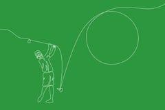 golfspeler Lineaire grafische lijn vector illustratie