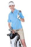 Golfspeler met een zak van clubs royalty-vrije stock foto's