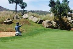 Golfspeler op green. royalty-vrije stock afbeeldingen