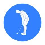 Golfspeler vóór schoppictogram in zwarte die stijl op witte achtergrond wordt geïsoleerd De voorraad vectorillustratie van het go royalty-vrije illustratie