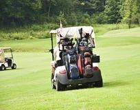 Golfspelers in Karren Stock Foto's