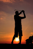 Golfspelersilhouet Royalty-vrije Stock Fotografie