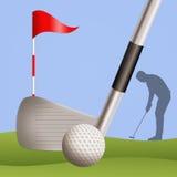 Golfspelersilhouet vector illustratie
