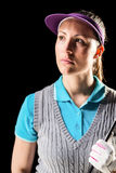Golfspieler auf schwarzem Hintergrund Lizenzfreie Stockfotografie