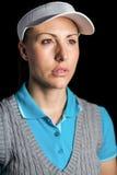 Golfspieler auf schwarzem Hintergrund Lizenzfreie Stockfotos
