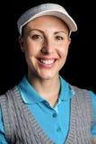 Golfspieler auf schwarzem Hintergrund Stockbilder