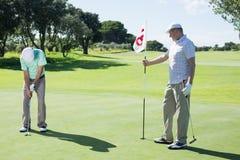 Golfspieler, der achtzehnte Lochflagge für den Freund setzt Ball hält Stockbilder