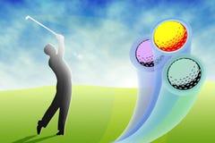 Golfspieler, der bunte Kugeln schlägt Stockfoto