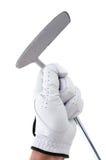 Golfspieler, der einen Putter anhält Lizenzfreie Stockfotografie