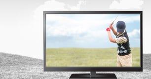Golfspieler im Fernsehen Stockbilder