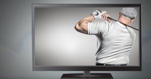 Golfspieler im Fernsehen Stockfoto