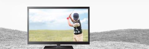 Golfspieler im Fernsehen Lizenzfreies Stockbild