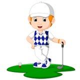 Golfspieler-Mann-Karikatur lizenzfreie abbildung