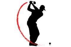 Golfspieler T-Off mit Feuer vektor abbildung