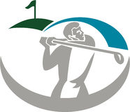 Golfspieler-T-Stück weg vom Golf Retro- Stockbilder