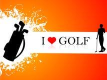 Golfspieler und -satz Stockfotografie