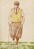 Golfspieler - Weinlesemann Stockbild