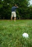 Golfspieler, welche nach seiner Kugel sucht Lizenzfreies Stockfoto