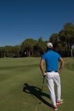 Golfspielerporträt von der Rückseite Stockfotos