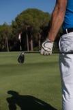 Golfspielerporträt von der Rückseite Stockfoto