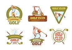 Golfsportclub, etiketten van de toernooien de vectorkleur royalty-vrije illustratie
