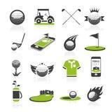 Golfsymbolsuppsättning 2 stock illustrationer