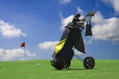 Golftrolley Photographie stock libre de droits