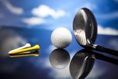Golfutrustning, livligt färgrikt tema Arkivfoto