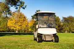 Golfvagnar på en golfbana arkivfoto