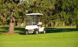 Golfvagnar på en golfbana royaltyfria bilder