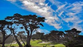 Golfverbindingen langs de 17 Mijlaandrijving dichtbij Carmel, CA Stock Foto
