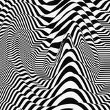 Golfvormachtergrond Dynamisch visueel effect Oppervlaktevervorming Patroon met optische illusie Vector gestreepte illustratie zwa stock illustratie