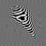 Golfvormachtergrond Dynamisch visueel effect Oppervlaktevervorming Patroon met optische illusie Vector gestreepte illustratie stock illustratie