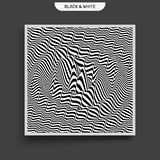 Golfvormachtergrond Oppervlaktevervorming Patroon met optische illusie Vector gestreepte illustratie Zwart-witte correcte golven stock illustratie