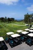 Golfwagen auf schönem Golf   Lizenzfreie Stockfotos