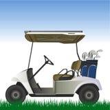 Golfwagen im Feldvektor Stockfoto