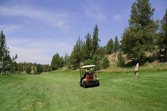 Golfwagen und Damegolfspieler Stockfotos