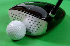 Golg clubs. Golf clubs on green background Royalty Free Stock Photo