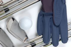 Golg clubs with glove Stock Image