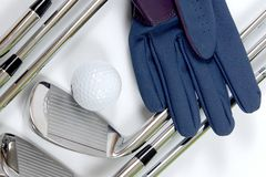 Golg clubs with glove Stock Photography