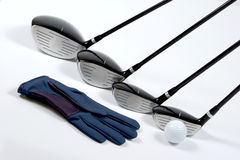 Golg clubs with glove. Golf clubs with glove on white background Royalty Free Stock Photos