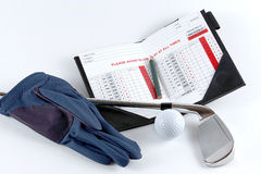 Golg clubs with glove. Golf clubs with glove on white background Stock Photography