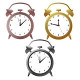 Golg, silver and bronze alarm clocks. Vector illustration royalty free illustration