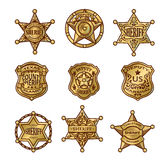 Golgen Sheriff Badges. With stars and shields ribbons flourishes laurel on white background isolated vector illustration Royalty Free Stock Photo
