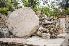 Golghota som är bekant som den trädgårds- gravvalvet, Jerusalem, Israel Arkivbilder