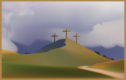 Golgotha. The crucifixion , the day after.nTwo crosses are in the light, but the third one Stock Images