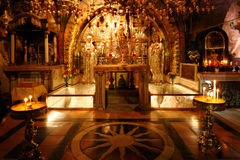 Golgotha Mountain, Temple of the Holy Sepulcher in Jerusalem Royalty Free Stock Photography